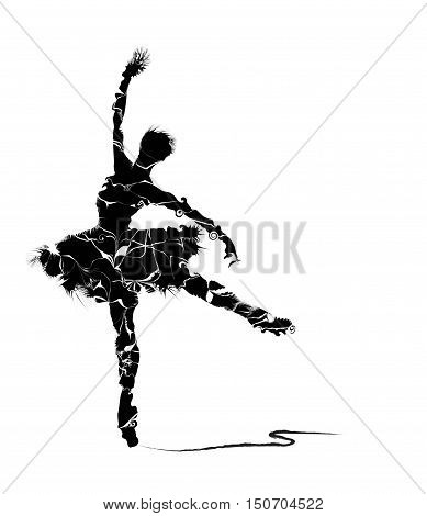humanoid of dancer silhouette on white background