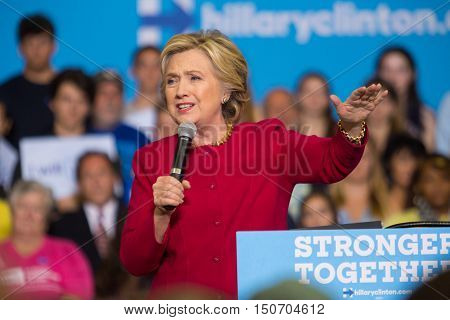 Harrisburg PA - October 4 2016: Presidential candidate Hillary Clinton speaking to supporters and asking them to register to vote.