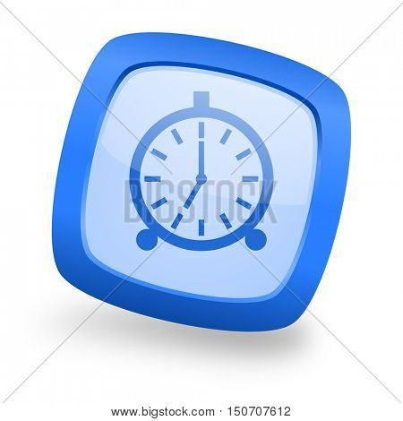 alarm blue glossy web design icon