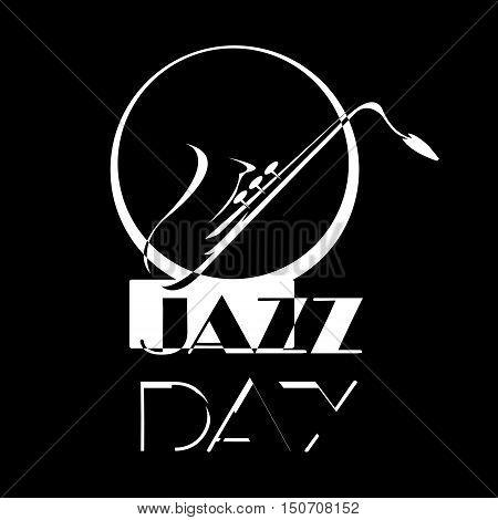 Saxophone Motif - Retro Illustration. Black and white
