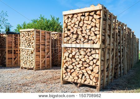 Chipped fire wood in packing on pallets
