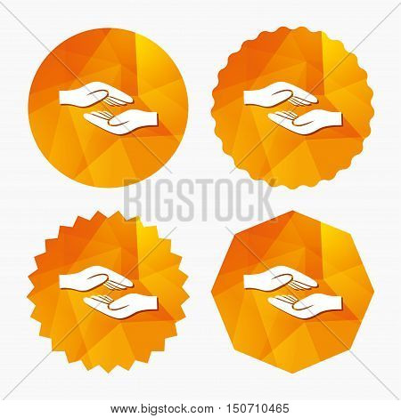 Helping hands sign icon. Charity or endowment symbol. Human palm. Triangular low poly buttons with flat icon. Vector