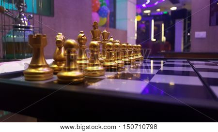 Close up of chess bord in golden colour