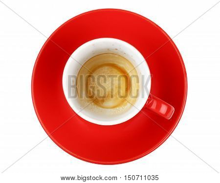 Empty Espresso Coffee In Red Cup Isolated On White