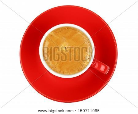 One Espresso Coffee In Red Cup Isolated On White