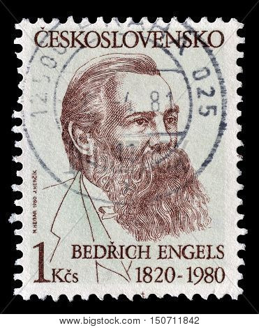 CZECHOSLOVAKIA - CIRCA 1980 : Cancelled postage stamp printed by Czechoslovakia, that shows Engels.