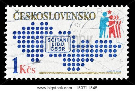 CZECHOSLOVAKIA - CIRCA 1980 : Cancelled postage stamp printed by Czechoslovakia, that shows National census.