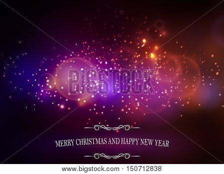 Abstract background with sparks lights and Merry Christmas and happy new year