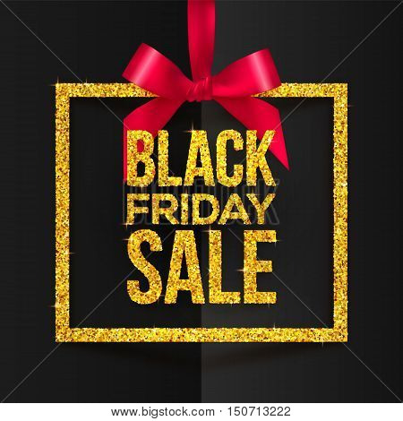 Golden glitter vector square frame hanging on red silky ribbon with bow and golden Black Friday Sale sign inside