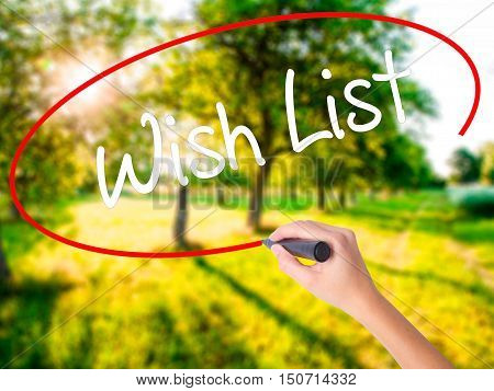 Woman Hand Writing Wish List With A Marker Over Transparent Board