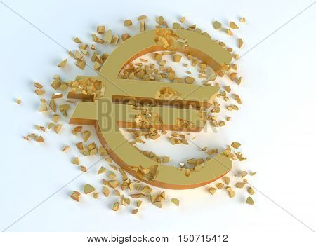 golden crushed symbol of euro € on a light background