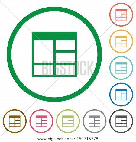Set of Spreadsheet vertically merge table cells color round outlined flat icons on white background