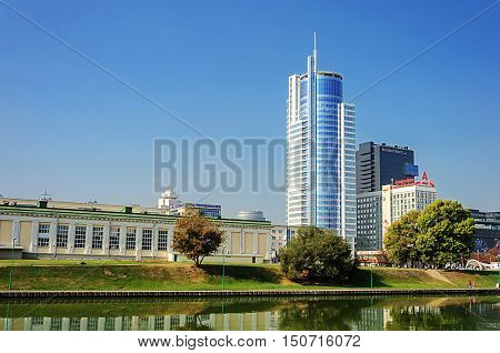 Minsk, Belarus - September 12, 2016: Business buildings in center of Minsk