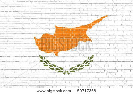 Cypriot national official flag. Patriotic symbol banner element background. Flag of Cyprus on brick wall texture background, 3d illustration