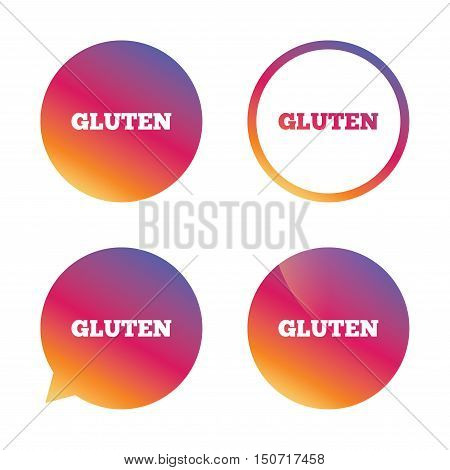 Gluten free sign icon. No gluten symbol. Gradient buttons with flat icon. Speech bubble sign. Vector