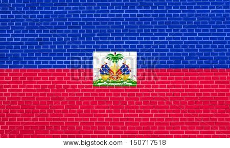 Haitian national official flag. Patriotic symbol banner element background. Flag of Haiti on brick wall texture background, 3d illustration