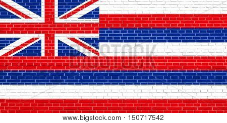 Hawaiian official flag symbol. American patriotic element. USA banner. United States of America background. Flag of the US state of Hawaii on brick wall texture background, 3d illustration