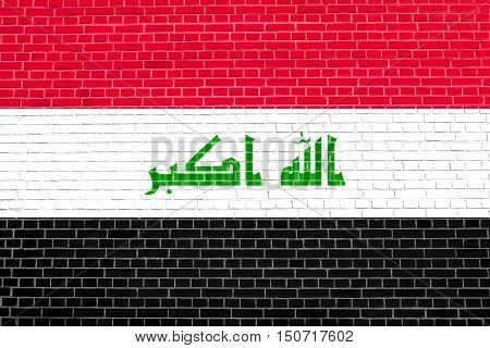 Iraqi national official flag. Irak patriotic symbol element background. Iraki banner. Flag of Iraq on brick wall texture background, 3d illustration
