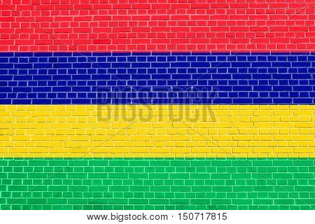 Mauritian national official flag. African patriotic symbol banner element background. Flag of Mauritius on brick wall texture background, 3d illustration