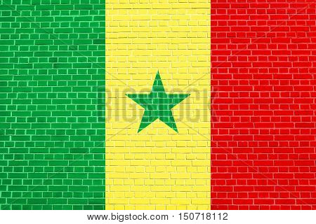 Senegalese national official flag. African patriotic symbol banner element background. Flag of Senegal on brick wall texture background, 3d illustration