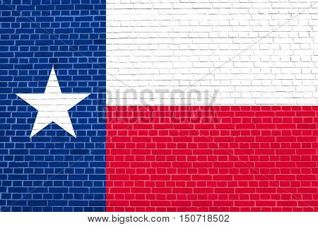 Texan official flag symbol. American patriotic element. USA banner. United States of America background. Flag of the US state of Texas on brick wall texture background, 3d illustration