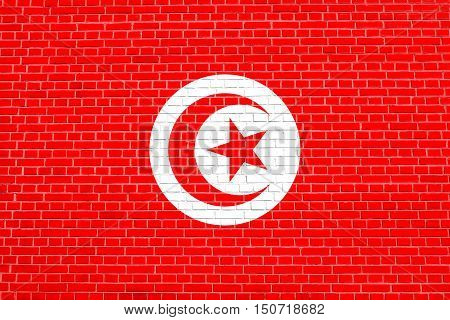 Tunisian national official flag. African patriotic symbol banner element background. Flag of Tunisia on brick wall texture background, 3d illustration