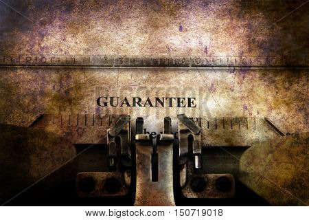 Guaranty  Form On Vintage Typewriter