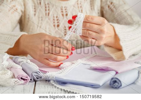 Creative Diy Hobby. Making Handmade Craft With Lace. Woman's Leisure, Female Hands Closeup Working O