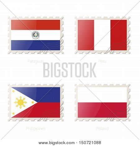 Postage Stamp With The Image Of Paraguay, Peru, Philippines, Poland Flag.