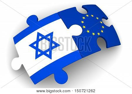 Cooperation between the European Union and Israel. Puzzles with flags of the European Union and Israel on a white surface. The concept of coincidence of interests in geopolitics.3D Illustration