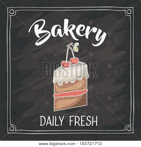 Cake icon. Bakery food daily and fresh theme. Frame blackboard and grunge background. Vector illustration