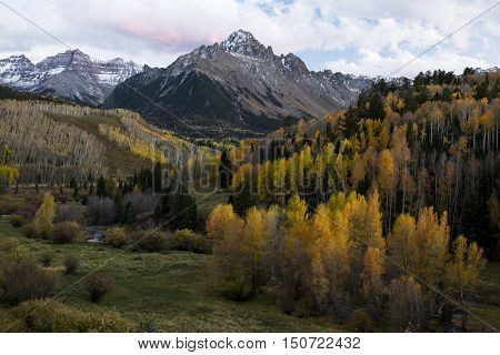 Autumn colors of Mt. Sneffels in the San Juan Mountains of Southwest Colorado