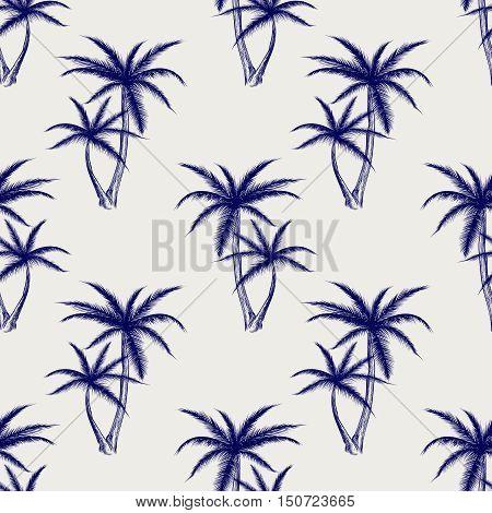 Ball pen imitation palms seamless pattern. Sketch palm background vector illustration