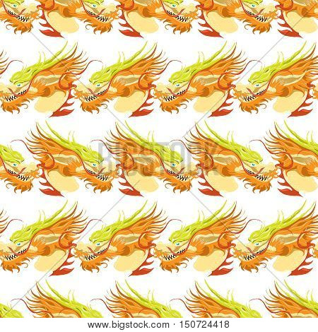 Color chinese dragon seamless pattern. Bright mythological background vector illustration