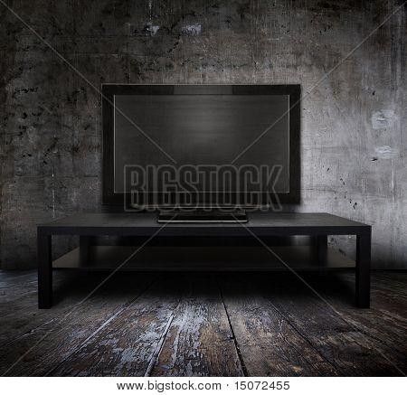 old tv in grunge interior