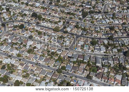 Aerial view of middle class neighborhood on the east side of San Francisco Bay in California.