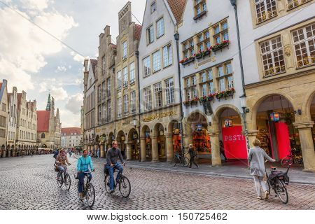 Prinzipalmarkt With Historic Buildings In Muenster, Germany