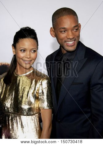 Will Smith and Thandie Newton at the Los Angeles premiere of 'The Pursuit of Happyness' held at the Mann Village Theater in Westwood, USA on December 7, 2006.