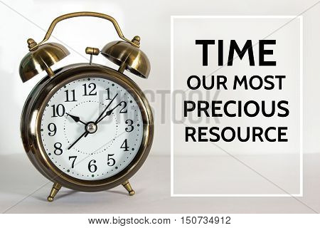 ext Time our most precious resource on clock background / time concept