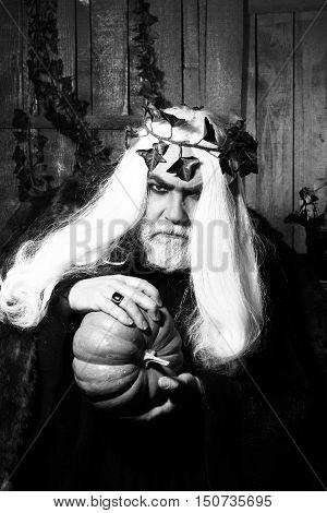 Old Man In Costume Of Sorcerer