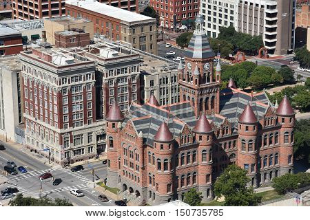 DALLAS, TX - SEP 17: Old Red Museum, formerly Dallas County Courthouse in Dallas, Texas, as seen on Sep 17, 2016. It was built in 1892 of red sandstone rusticated marble accents.