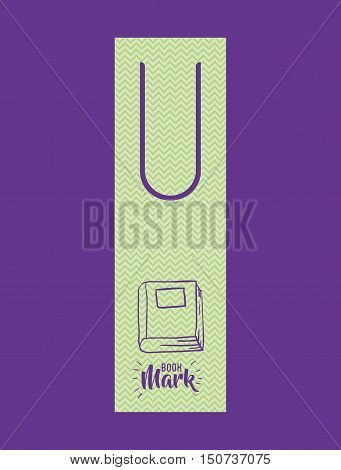 Bookmark label tag with book icon. Guidebook decoration reading and literature  theme. Colorful design. Vector illustration