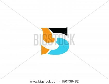 Logo number 5 vector design template 1
