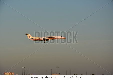 DALLAS, TX - SEP 18: American Eagle plane about to land at Dallas-Fort Worth International Airport in Texas, as seen on Sep 18, 2016. American Eagle is the regional brand of American Airlines.