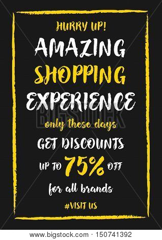 Vector Amazing Shopping Experience Up To 75 percent off banner with frame for online stores websites retail posters social media ads. Creative banner layout for m-commerce mobile promotions.