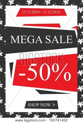 Vector promotional Mega Sale banner for online stores websites retail posters social media ads. Creative banner layout for m-commerce sale materials coupons advertising.