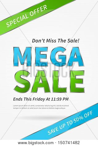 Banner Mega Sale vector illustration. Poster Mega Sale creative concept for websites retail stores advertising. Banner layout Mega Sale A4 size ready to print.