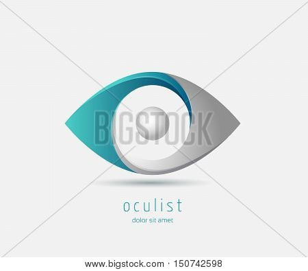 eye vision abstract logo design template optics oculist sign .spy detective research logo vector illustration