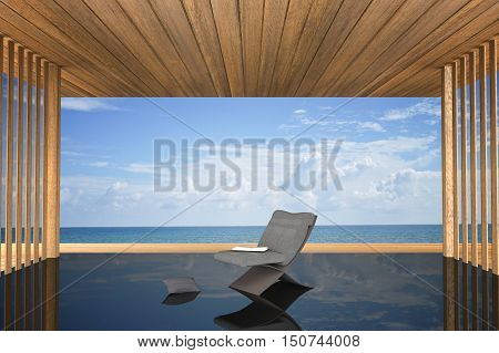 3D rendering : illustration of modern chair interior decoration at balcony outdoor wooden room style with Sundeck on Sea view for vacation and summer / 3d render outdoor living
