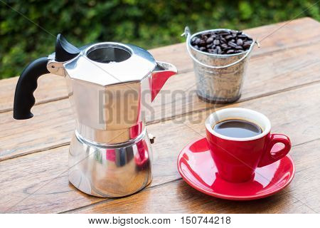Red cup of hot espresso shot stock photo